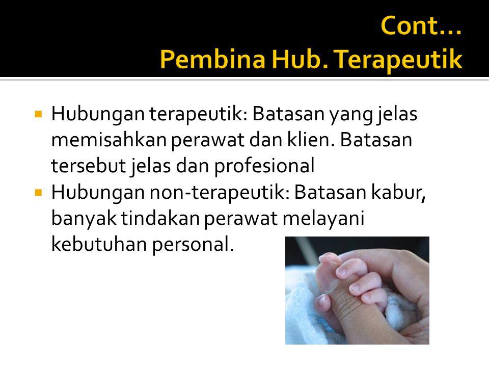  Hubungan terapeutik: Batasan yang jelas memisahkan perawat dan klien.