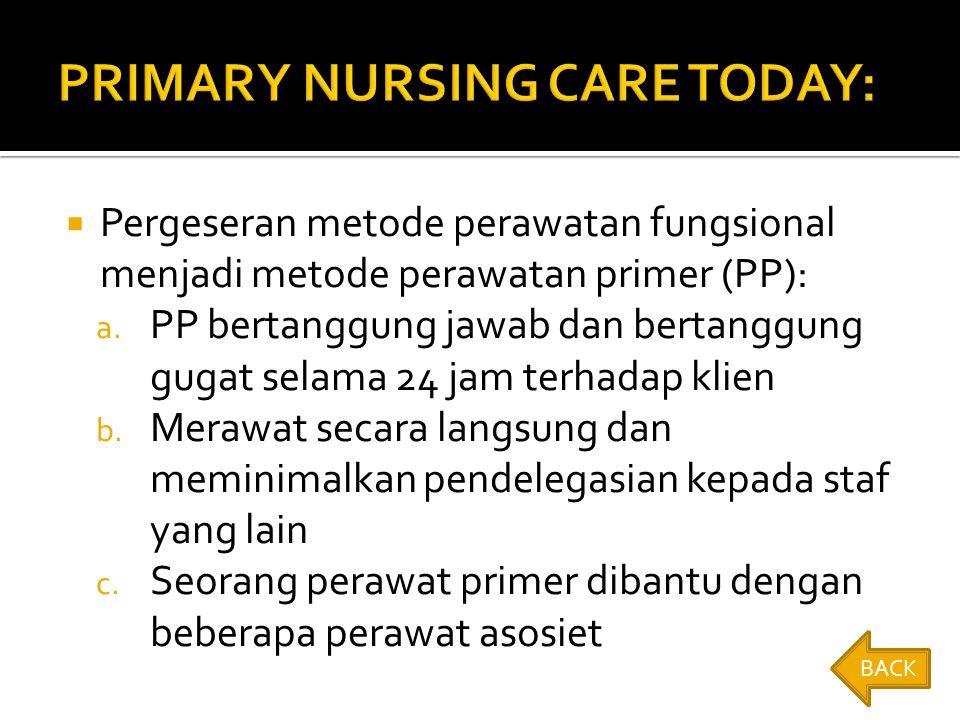  Pergeseran metode perawatan fungsional menjadi metode perawatan primer (PP): a.