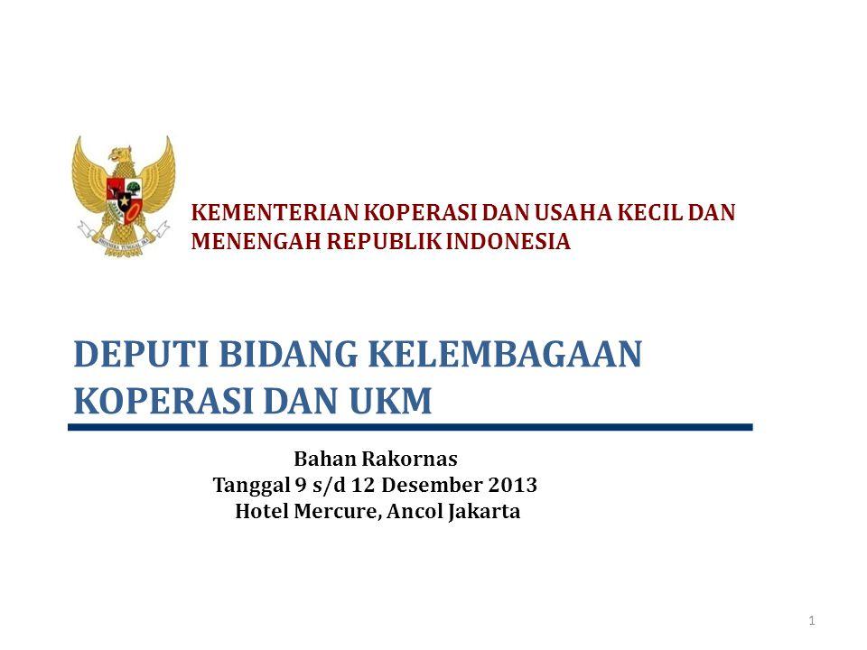 DEPUTI BIDANG KELEMBAGAAN KOPERASI DAN UKM KEMENTERIAN KOPERASI DAN USAHA KECIL DAN MENENGAH REPUBLIK INDONESIA 1 Bahan Rakornas Tanggal 9 s/d 12 Dese