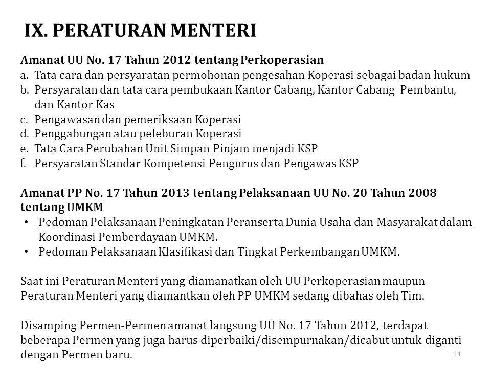 IX. PERATURAN MENTERI Amanat UU No. 17 Tahun 2012 tentang Perkoperasian a.Tata cara dan persyaratan permohonan pengesahan Koperasi sebagai badan hukum