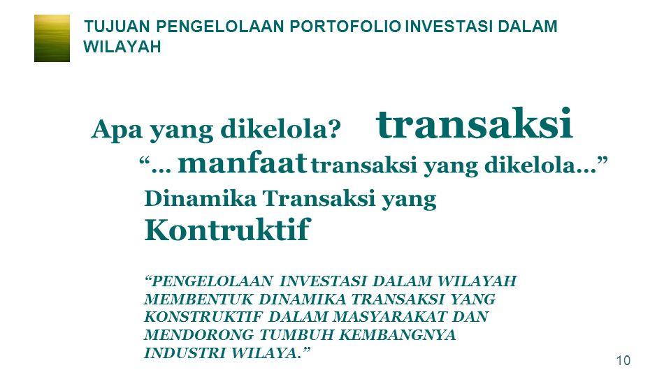 "TUJUAN PENGELOLAAN PORTOFOLIO INVESTASI DALAM WILAYAH ""… manfaat transaksi yang dikelola…"" Dinamika Transaksi yang Kontruktif ""PENGELOLAAN INVESTASI D"