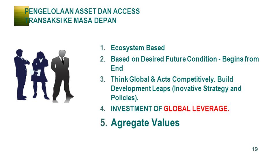 19 PENGELOLAAN ASSET DAN ACCESS TRANSAKSI KE MASA DEPAN 1.Ecosystem Based 2.Based on Desired Future Condition - Begins from End 3.Think Global & Acts