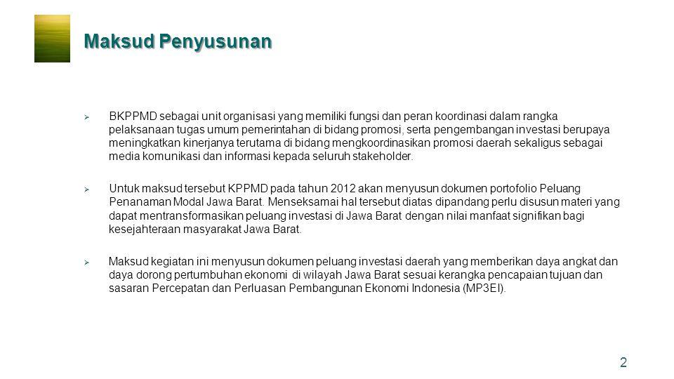 23 Favourable Investment Jawa Barat mampu memberikan kontribusi kontribusi 20% alokasi investasi (urutan ke-2 setelah DKI Jakarta)