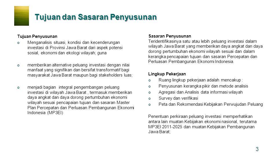 Tujuan dan Sasaran Penyusunan Tujuan Penyusunan Menganalisis situasi, kondisi dan kecenderungan investasi di Provinsi Jawa Barat dari aspek potensi so