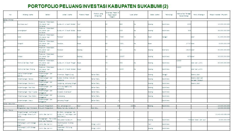 PORTOFOLIO PELUANG INVESTASI KABUPATEN SUKABUMI (2) NoBidang UsahaSektorLokasi UsahaPotensi Pasar Produk yang Dihasilkan Orientasi Pasar (% Pasar Dala