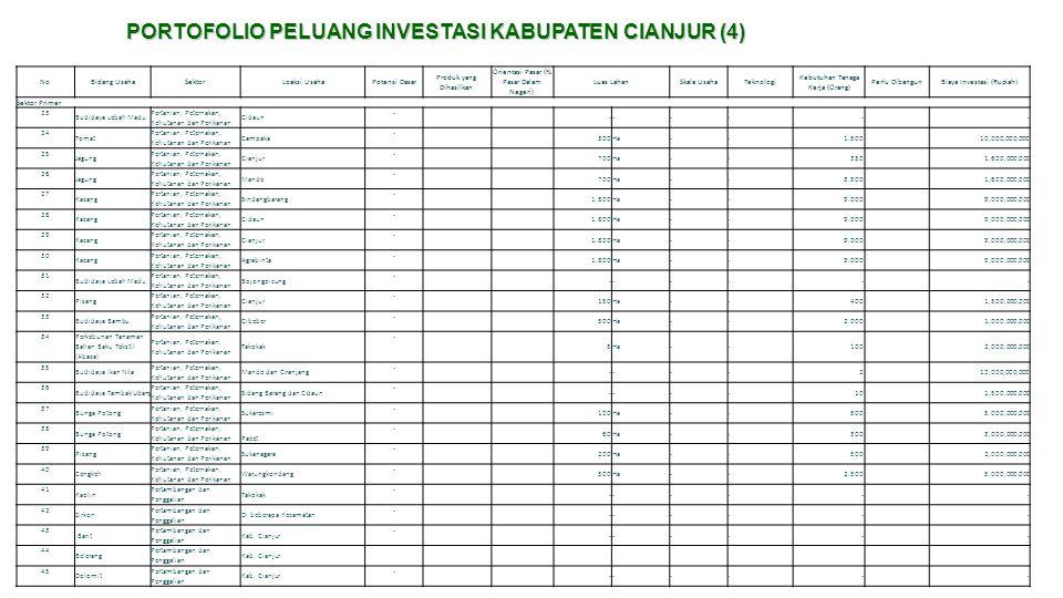 PORTOFOLIO PELUANG INVESTASI KABUPATEN CIANJUR (4) NoBidang UsahaSektorLoaksi UsahaPotensi Dasar Produk yang Dihasilkan Orientasi Pasar (% Pasar Dalam
