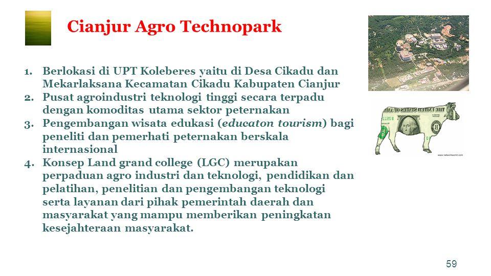 59 Cianjur Agro Technopark 1.Berlokasi di UPT Koleberes yaitu di Desa Cikadu dan Mekarlaksana Kecamatan Cikadu Kabupaten Cianjur 2.Pusat agroindustri