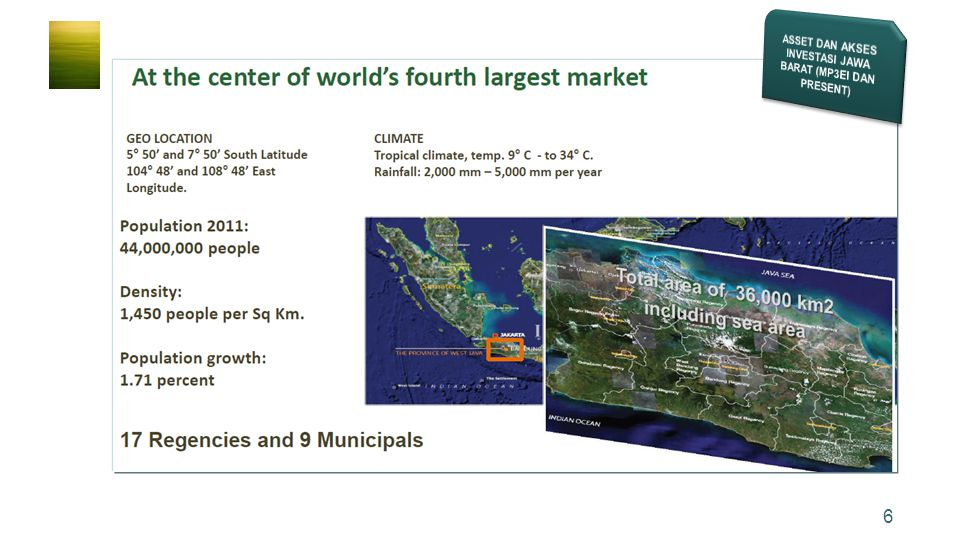 17 Portofolio for the future WEST JAVA'S MAJOR INVESTMENT ASSETS AND ACCESS BiodiversityBiodiversityWaterWaterAgricultureAgriculture Health & Education EducationEnergiEnergi TO BUILD ASSET AND ACCESS OF US$ 850 BILLION IN VALUE (2025) Bopunjur Water Management Bopunjur Water Management Ciamis-Kebumen Economic Corridor Ciamis-Kebumen Economic Corridor Kuningan Cirebon Economic Corridor Kuningan Cirebon Economic Corridor De Pleredo State of the Art Industry De Pleredo State of the Art Industry Geothermal Mini& Micro Hydropower Mini& Micro Hydropower National HRD Center Pharmacies Bviomass Energy & Waste Management Bviomass Energy & Waste Management Slaughterhouse & Derivatives Slaughterhouse & Derivatives As Prime Producer Of Rice As Prime Producer Of Rice Sukabumi-Ciamis Ocean Fishery Industry Sukabumi-Ciamis Ocean Fishery Industry TOURISM Botanical Bogor National Park Cibodas AND OTHERS National Park Cibodas AND OTHERS Industrial West Java Industrial West Java Malabar-Citarum Water Management Malabar-Citarum Water Management Health Services Technical Irrigation Carbon Trade Future Trading Carbon Trade Future Trading Connectivities and Logistic Connectivities and Logistic