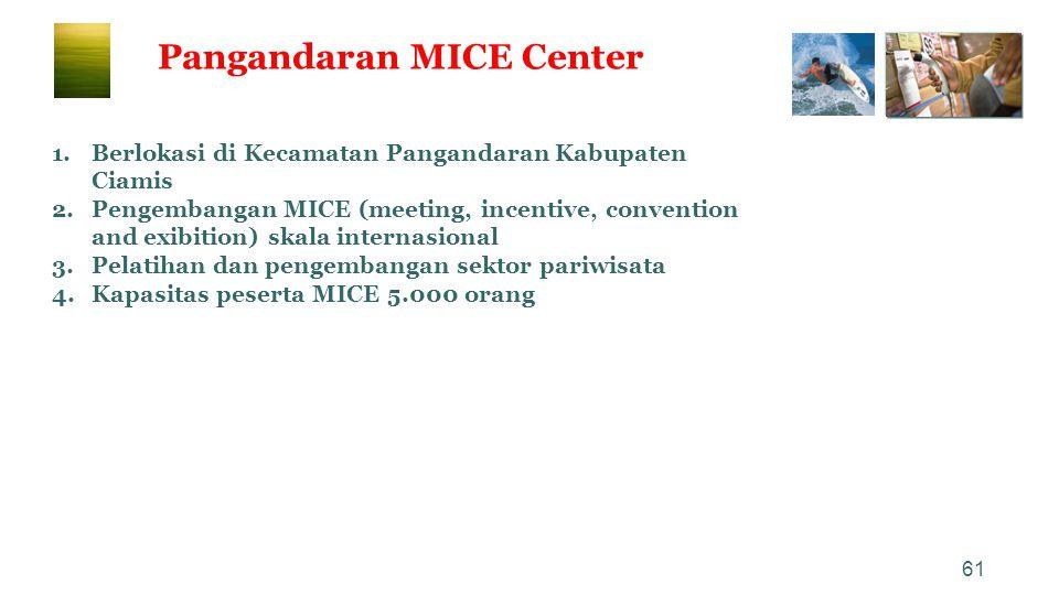 61 Pangandaran MICE Center 1.Berlokasi di Kecamatan Pangandaran Kabupaten Ciamis 2.Pengembangan MICE (meeting, incentive, convention and exibition) sk