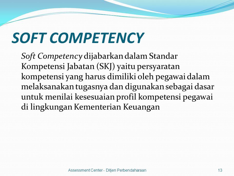 SOFT COMPETENCY Soft Competency dijabarkan dalam Standar Kompetensi Jabatan (SKJ) yaitu persyaratan kompetensi yang harus dimiliki oleh pegawai dalam melaksanakan tugasnya dan digunakan sebagai dasar untuk menilai kesesuaian profil kompetensi pegawai di lingkungan Kementerian Keuangan 13Assessment Center - Ditjen Perbendaharaan