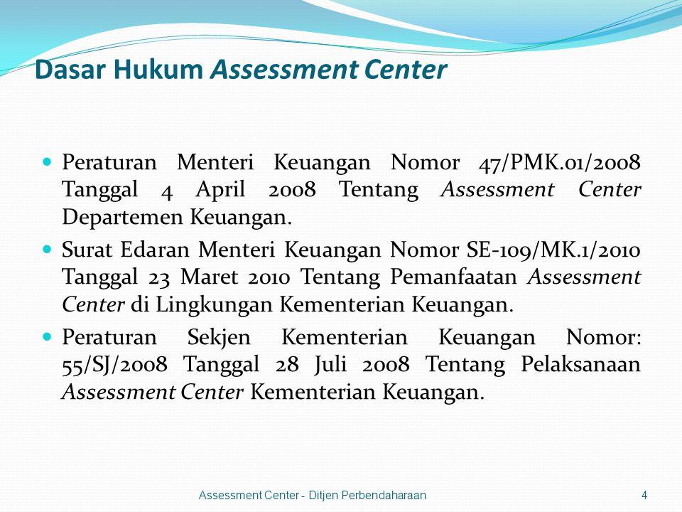 Dasar Hukum Assessment Center  Peraturan Menteri Keuangan Nomor 47/PMK.01/2008 Tanggal 4 April 2008 Tentang Assessment Center Departemen Keuangan.