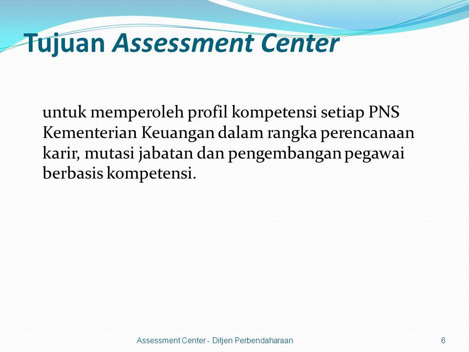 Tujuan Assessment Center untuk memperoleh profil kompetensi setiap PNS Kementerian Keuangan dalam rangka perencanaan karir, mutasi jabatan dan pengembangan pegawai berbasis kompetensi.
