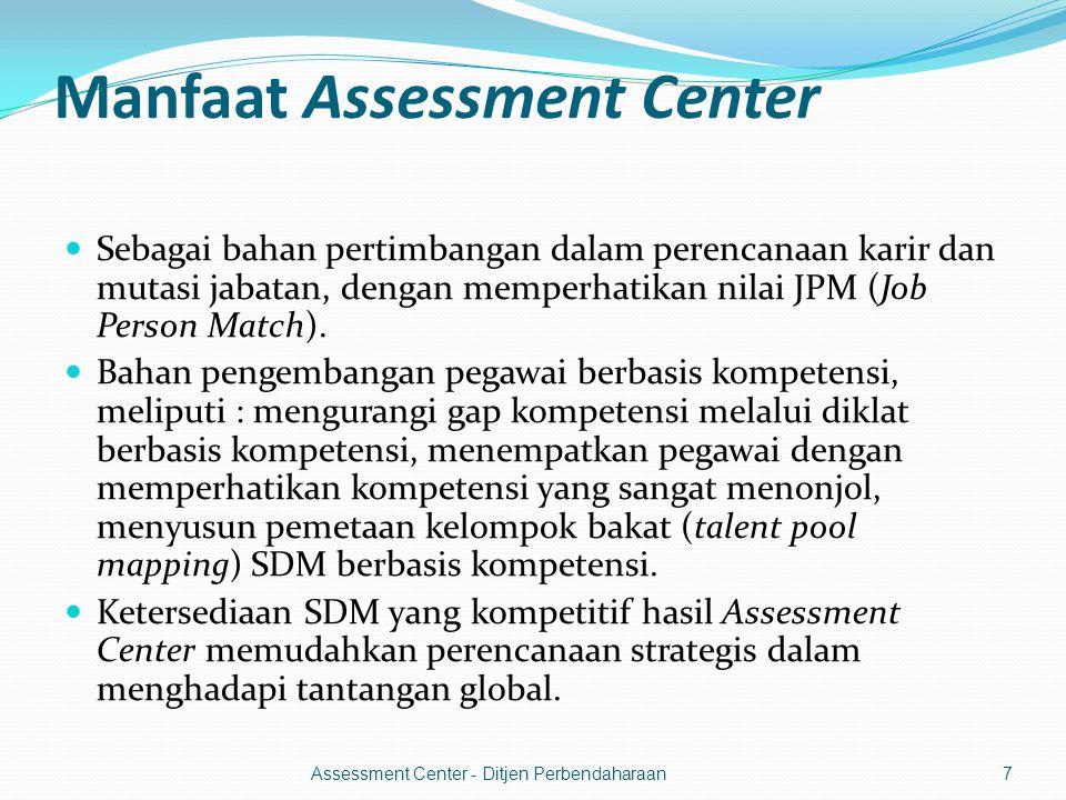 Manfaat Assessment Center  Sebagai bahan pertimbangan dalam perencanaan karir dan mutasi jabatan, dengan memperhatikan nilai JPM (Job Person Match).