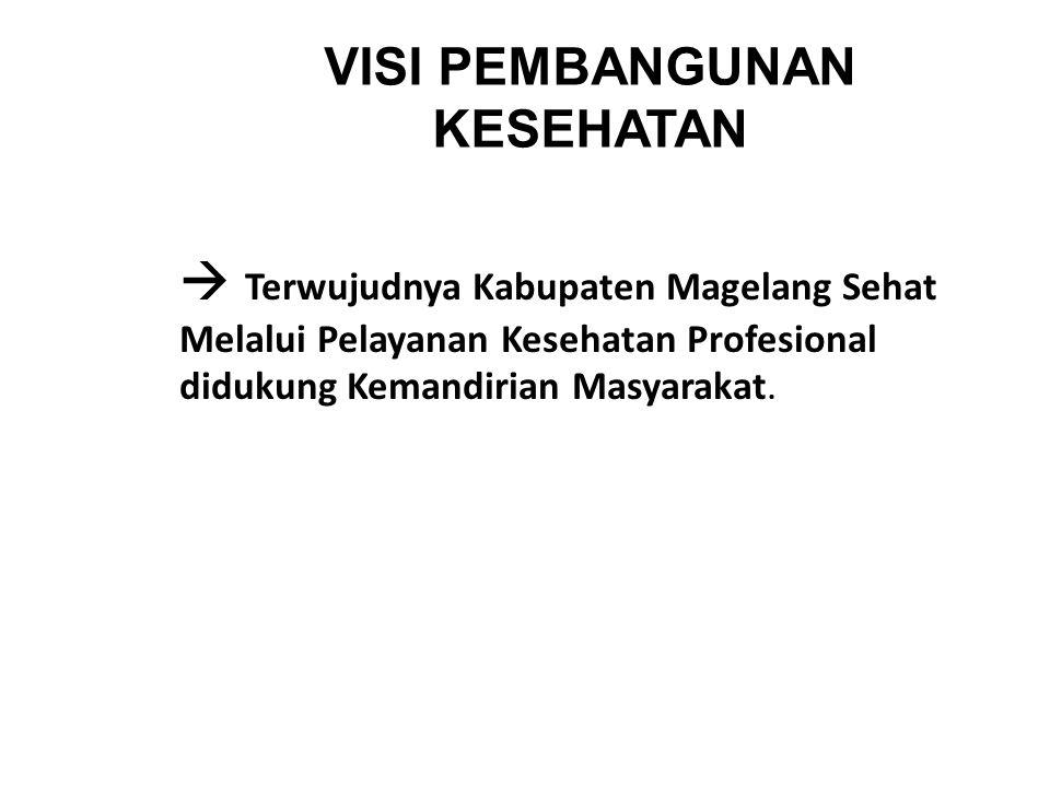 VISI PEMBANGUNAN KESEHATAN   Terwujudnya Kabupaten Magelang Sehat Melalui Pelayanan Kesehatan Profesional didukung Kemandirian Masyarakat.