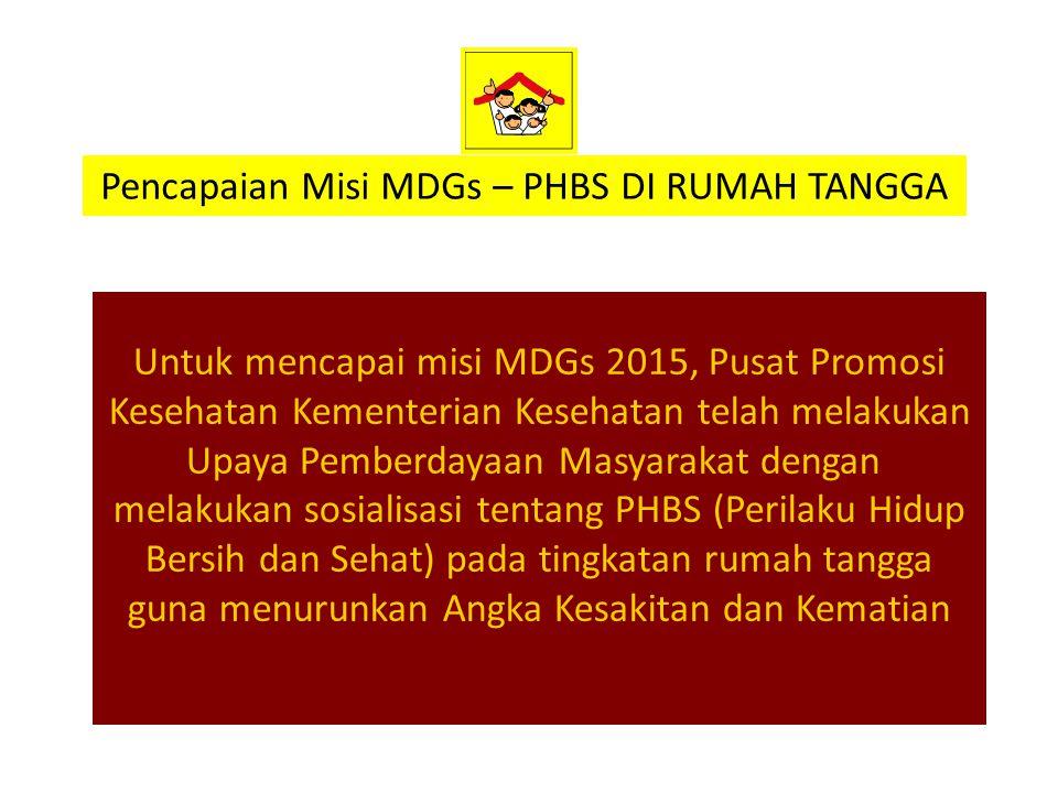 Untuk mencapai misi MDGs 2015, Pusat Promosi Kesehatan Kementerian Kesehatan telah melakukan Upaya Pemberdayaan Masyarakat dengan melakukan sosialisas