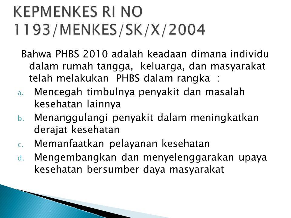 Bahwa PHBS 2010 adalah keadaan dimana individu dalam rumah tangga, keluarga, dan masyarakat telah melakukan PHBS dalam rangka : a. Mencegah timbulnya