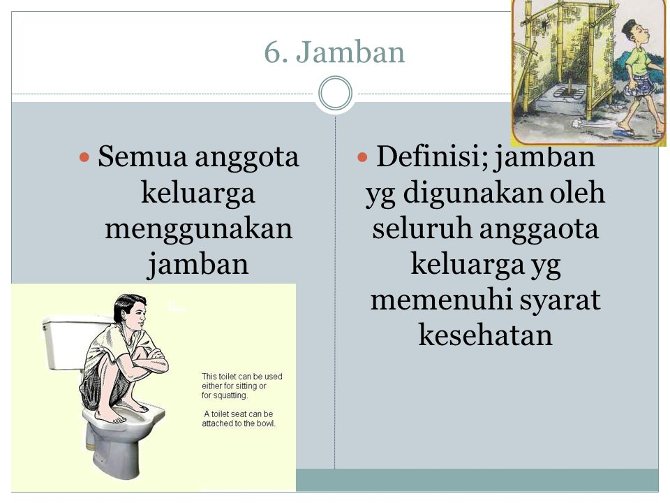 6. Jamban  Semua anggota keluarga menggunakan jamban  Definisi; jamban yg digunakan oleh seluruh anggaota keluarga yg memenuhi syarat kesehatan
