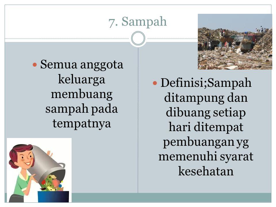 7. Sampah  Semua anggota keluarga membuang sampah pada tempatnya  Definisi;Sampah ditampung dan dibuang setiap hari ditempat pembuangan yg memenuhi