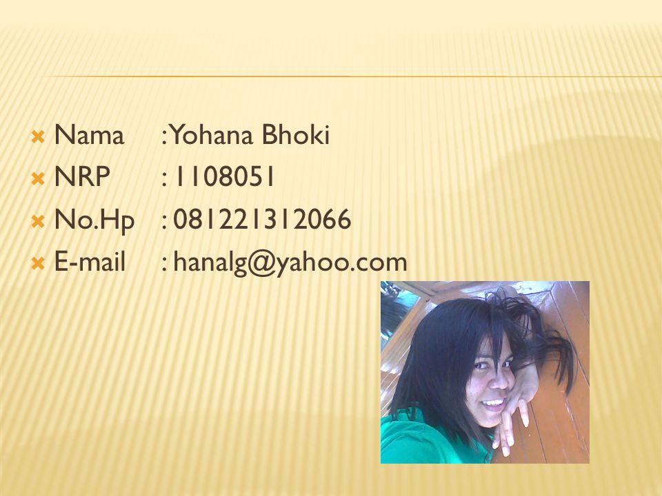 Nama: Yohana Bhoki  NRP: 1108051  No.Hp: 081221312066  E-mail: hanalg@yahoo.com