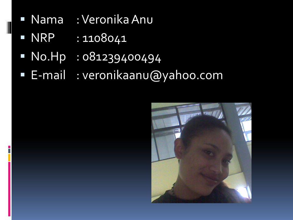  Nama: Veronika Anu  NRP: 1108041  No.Hp: 081239400494  E-mail: veronikaanu@yahoo.com
