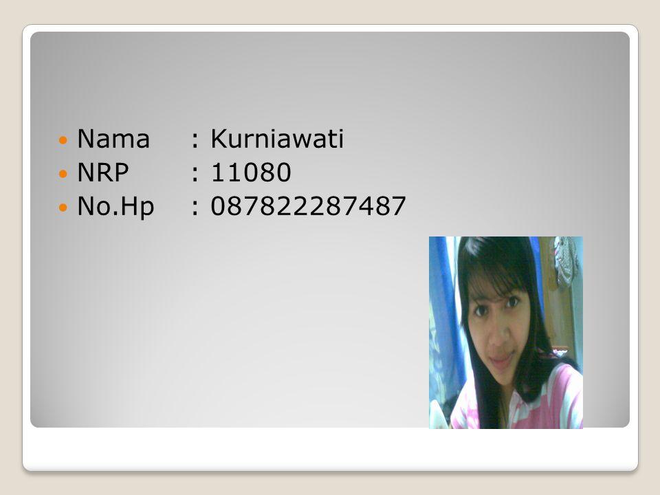  Nama: Kurniawati  NRP: 11080  No.Hp: 087822287487