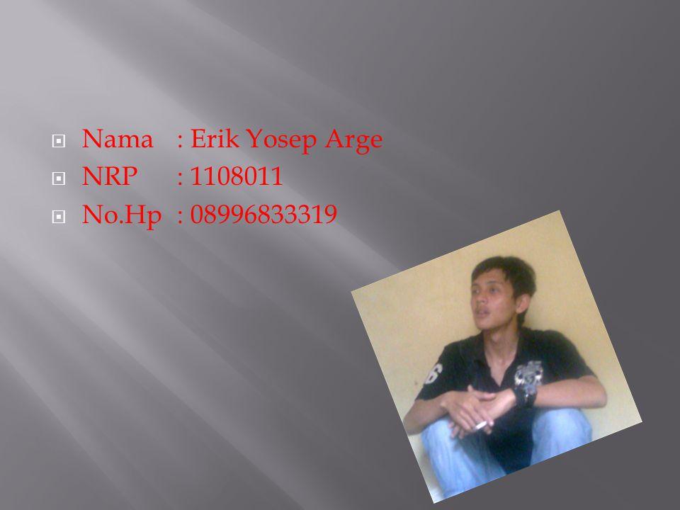  Nama: Erik Yosep Arge  NRP: 1108011  No.Hp: 08996833319