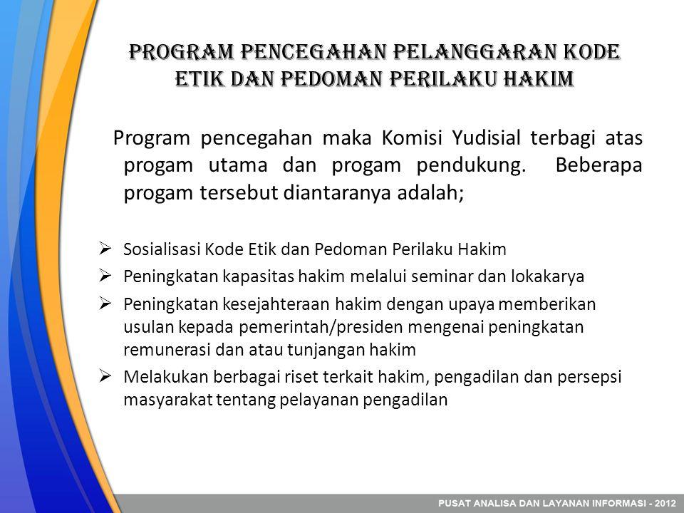 Program Pencegahan Pelanggaran kode etik dan pedoman Perilaku Hakim Program pencegahan maka Komisi Yudisial terbagi atas progam utama dan progam pendukung.