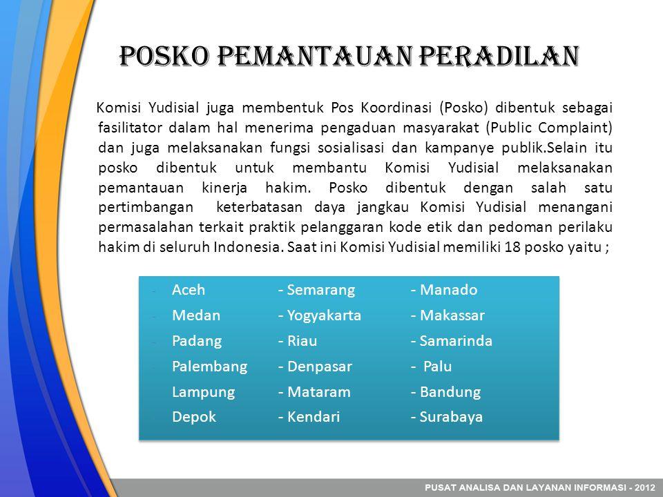 Posko Pemantauan Peradilan Komisi Yudisial juga membentuk Pos Koordinasi (Posko) dibentuk sebagai fasilitator dalam hal menerima pengaduan masyarakat (Public Complaint) dan juga melaksanakan fungsi sosialisasi dan kampanye publik.Selain itu posko dibentuk untuk membantu Komisi Yudisial melaksanakan pemantauan kinerja hakim.