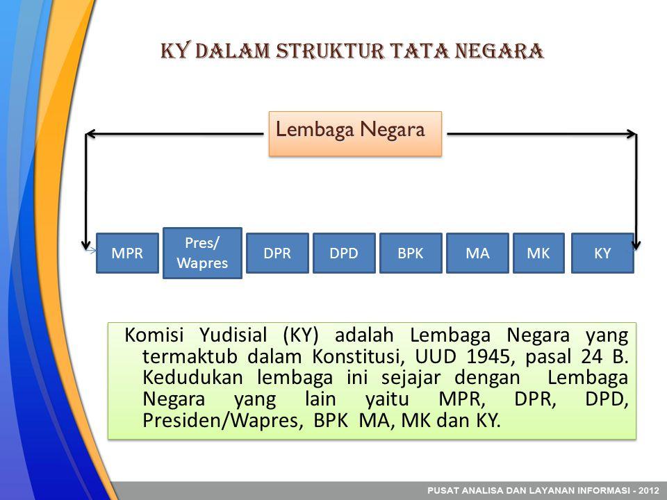 KY dalam Struktur Tata Negara Komisi Yudisial (KY) adalah Lembaga Negara yang termaktub dalam Konstitusi, UUD 1945, pasal 24 B.