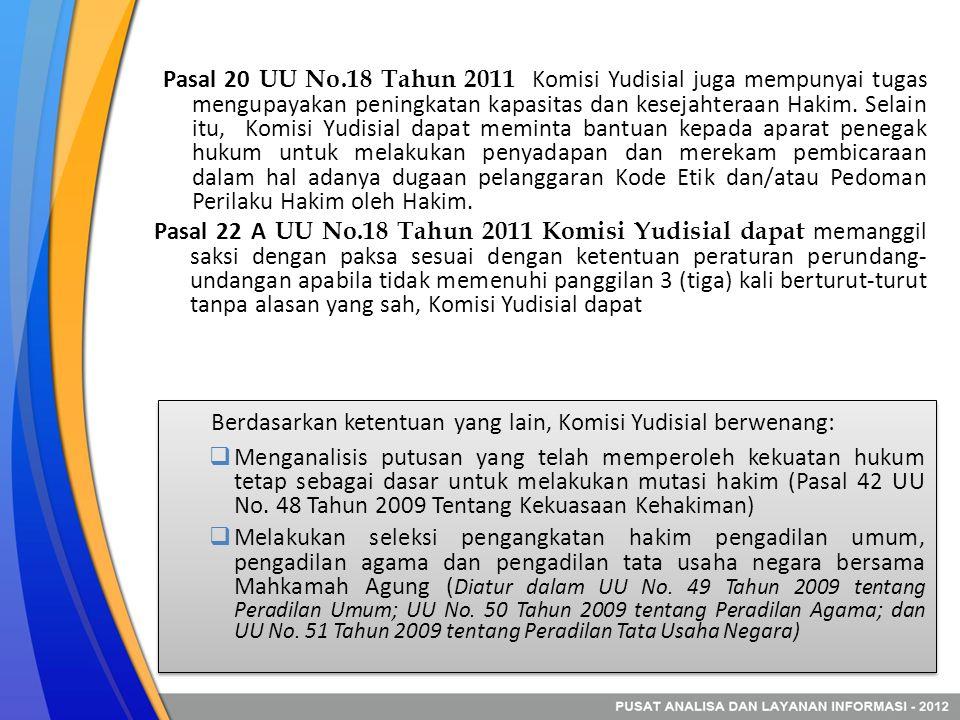 Pasal 20 UU No.18 Tahun 2011 Komisi Yudisial juga mempunyai tugas mengupayakan peningkatan kapasitas dan kesejahteraan Hakim. Selain itu, Komisi Yudis