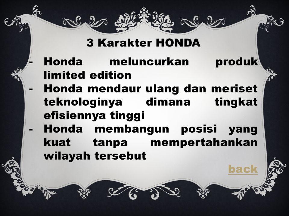 3 Karakter HONDA -Honda meluncurkan produk limited edition -Honda mendaur ulang dan meriset teknologinya dimana tingkat efisiennya tinggi -Honda membangun posisi yang kuat tanpa mempertahankan wilayah tersebut back