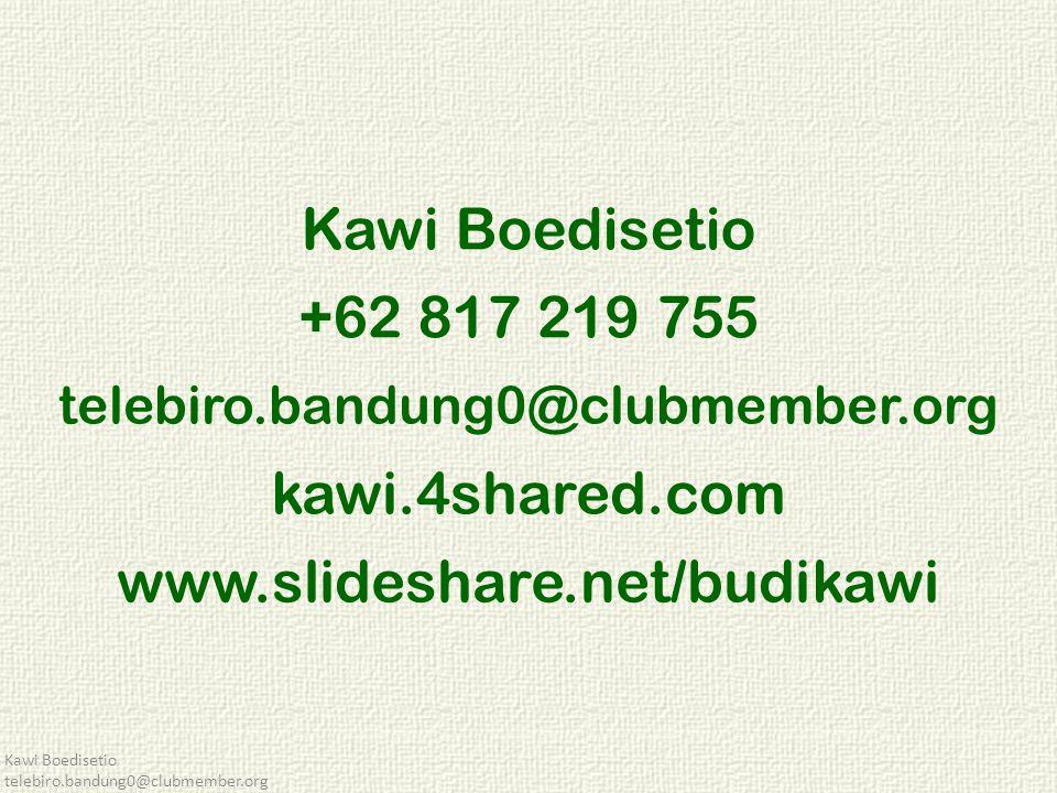 Kawi Boedisetio telebiro.bandung0@clubmember.org Kawi Boedisetio +62 817 219 755 telebiro.bandung0@clubmember.org kawi.4shared.com www.slideshare.net/budikawi