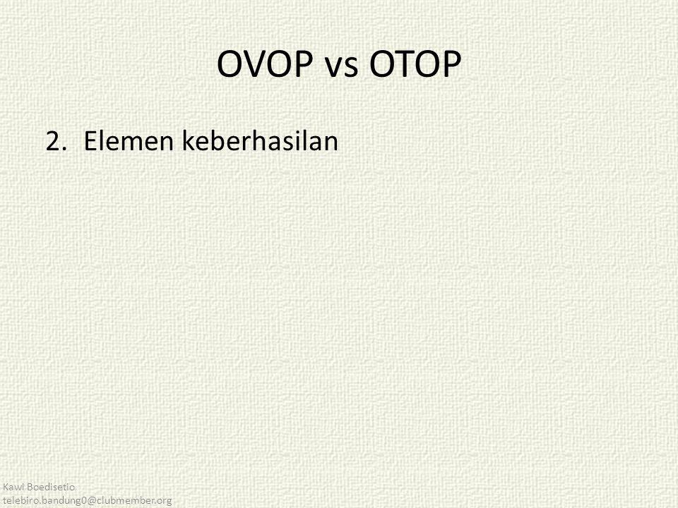 OVOP vs OTOP 2.Elemen keberhasilan Kawi Boedisetio telebiro.bandung0@clubmember.org