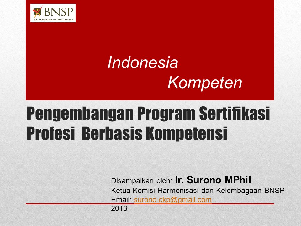 Pengembangan Program Sertifikasi Profesi Berbasis Kompetensi Disampaikan oleh: Ir.