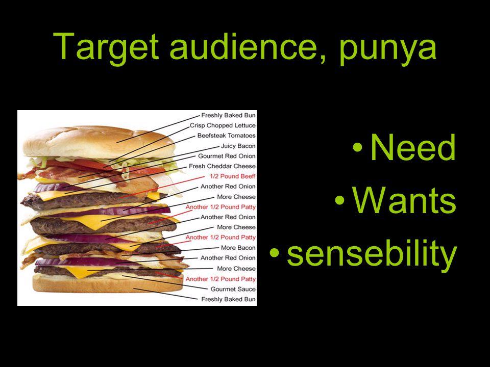 Target audience, punya •Need •Wants •sensebility