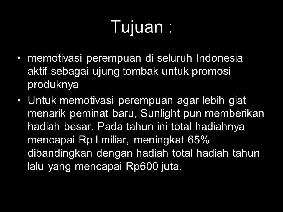 Tujuan : •memotivasi perempuan di seluruh Indonesia aktif sebagai ujung tombak untuk promosi produknya •Untuk memotivasi perempuan agar lebih giat men