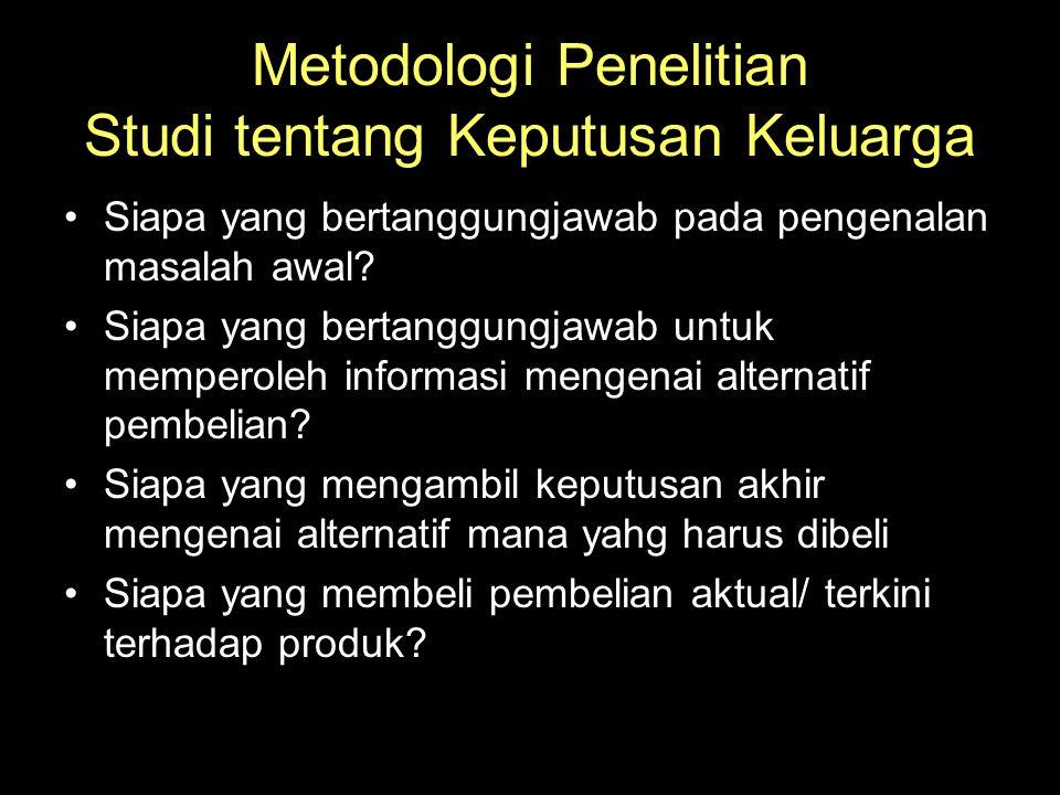 Metodologi Penelitian Studi tentang Keputusan Keluarga •Siapa yang bertanggungjawab pada pengenalan masalah awal? •Siapa yang bertanggungjawab untuk m