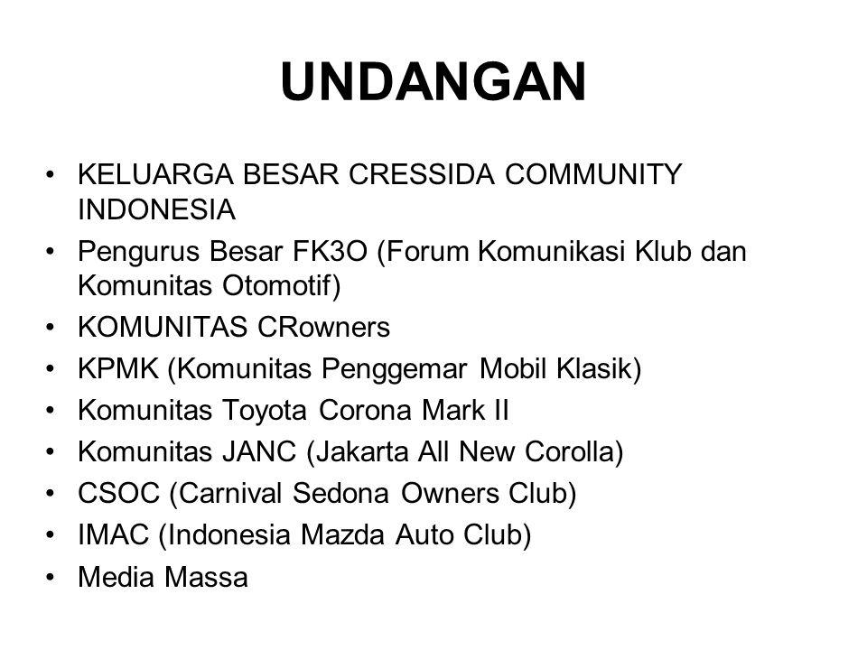UNDANGAN •KELUARGA BESAR CRESSIDA COMMUNITY INDONESIA •Pengurus Besar FK3O (Forum Komunikasi Klub dan Komunitas Otomotif) •KOMUNITAS CRowners •KPMK (Komunitas Penggemar Mobil Klasik) •Komunitas Toyota Corona Mark II •Komunitas JANC (Jakarta All New Corolla) •CSOC (Carnival Sedona Owners Club) •IMAC (Indonesia Mazda Auto Club) •Media Massa