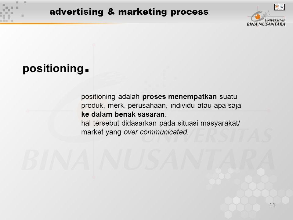11 advertising & marketing process positioning. positioning adalah proses menempatkan suatu produk, merk, perusahaan, individu atau apa saja ke dalam