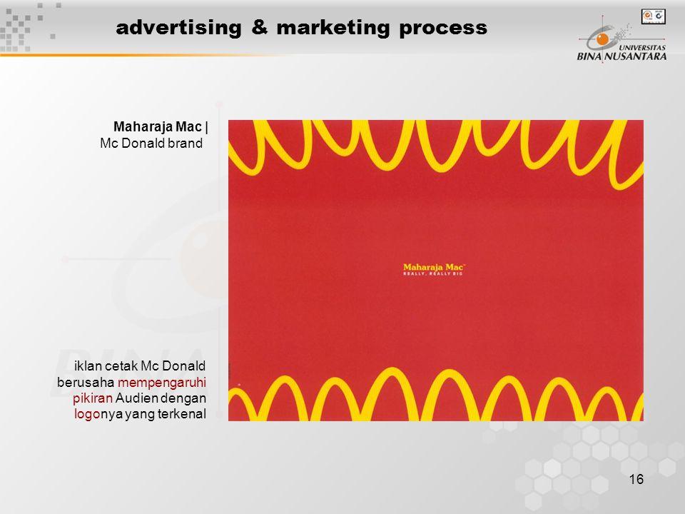 16 advertising & marketing process Maharaja Mac | Mc Donald brand iklan cetak Mc Donald berusaha mempengaruhi pikiran Audien dengan logonya yang terke