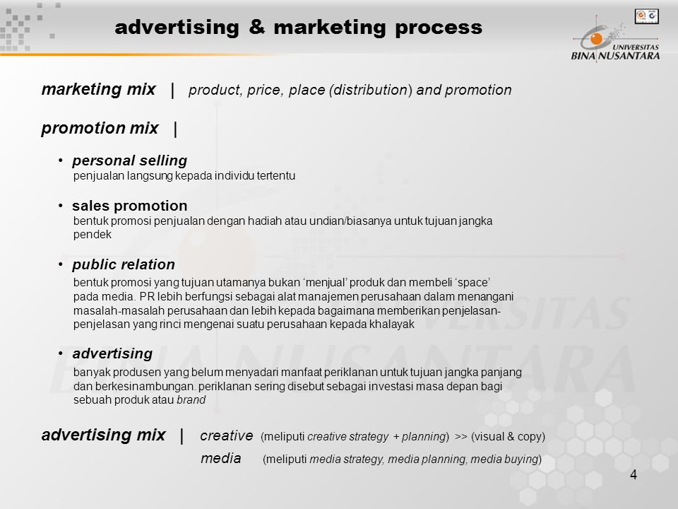 4 advertising & marketing process marketing mix | product, price, place (distribution) and promotion promotion mix | • personal selling penjualan lang