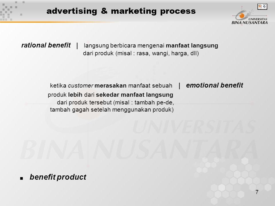 7 advertising & marketing process rational benefit | langsung berbicara mengenai manfaat langsung dari produk (misal : rasa, wangi, harga, dll) ketika