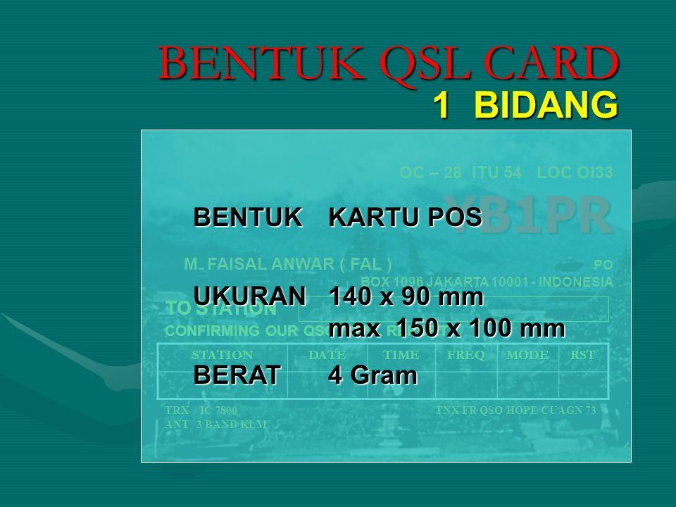 YB1PR OC – 28 ITU 54 LOC OI33 YB1PR M. FAISAL ANWAR ( FAL ) PO BOX 1096 JAKARTA 10001 - INDONESIA TO STATION CONFIRMING OUR QSO / SWL REPORT TRX IC 78