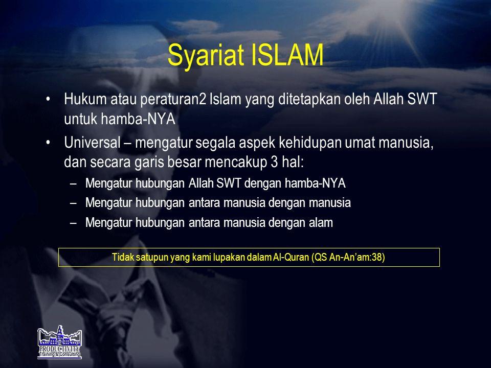SASARAN DIDUNIA Menjadi ISLAM 100% Dengan cara menjalankan RUKUN ISLAM & SYARIAT ISLAM secara murni & konsekwen Mengapa harus menjadi ISLAM .