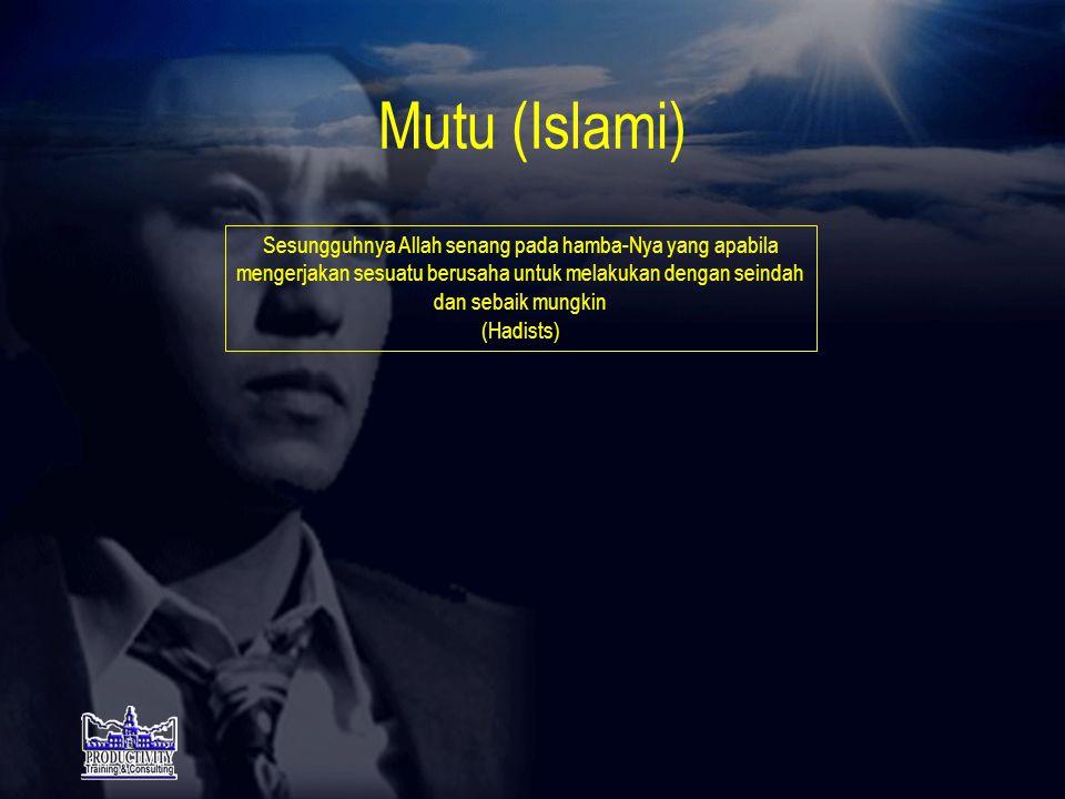 Pelayanan (Islami) •Menepati janji (QS5:1) •Memelihara lidah dari ucapan sia- sia (QS17:36) •Mengeluarkan zakat (QS3:180) •Menolong Customer dalam kebaikan (QS2:2) •Memelihara sifat malu (Hadists) •Menahan amarah dan rendah hati (QS3:134) •Menjawab dan memberi salam (QS4:86) •Memelihara kebersihan (Hadists) •Barang yang dibeli harus diserah- terimakan (Hadists) •Selesaikan masalah secara bermusyawarah (QS3:159) •Jangan melempar kesalahan atau fitnah (QS2:217) •Jangan berdusta (QS50:5) •Jangan berbuat curang (QS83:1) •Sabar menghadapi musibah /masalah(QS39:10) •Adil (QS4:135)