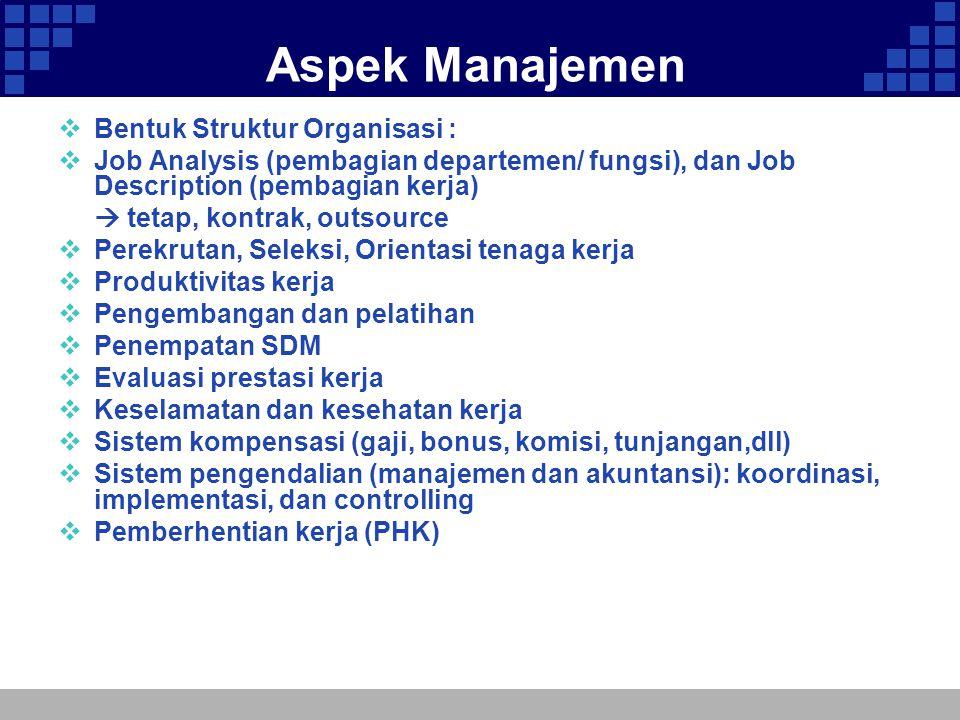 Aspek Manajemen  Bentuk Struktur Organisasi :  Job Analysis (pembagian departemen/ fungsi), dan Job Description (pembagian kerja)  tetap, kontrak,