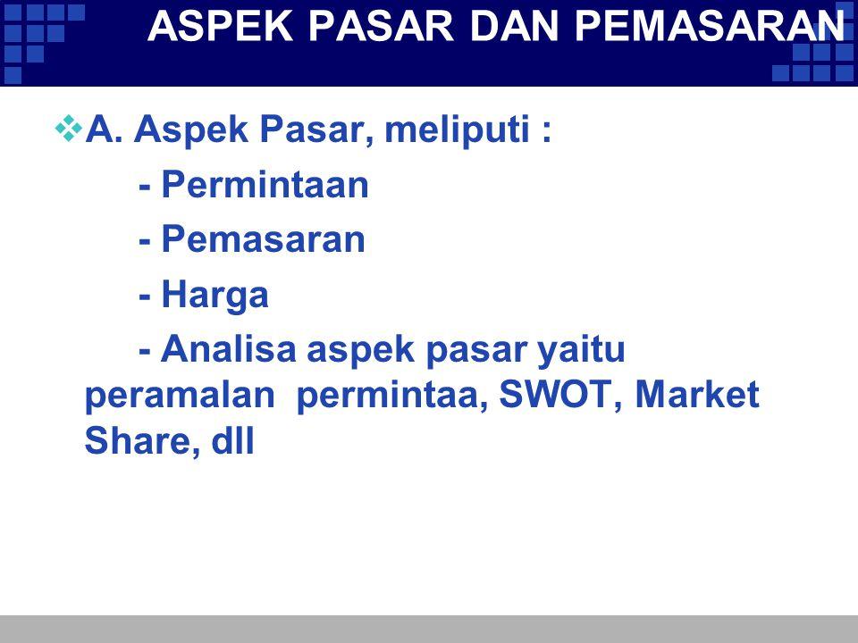 ASPEK PASAR DAN PEMASARAN  A. Aspek Pasar, meliputi : - Permintaan - Pemasaran - Harga - Analisa aspek pasar yaitu peramalan permintaa, SWOT, Market