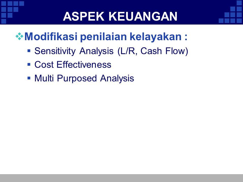ASPEK KEUANGAN  Modifikasi penilaian kelayakan :  Sensitivity Analysis (L/R, Cash Flow)  Cost Effectiveness  Multi Purposed Analysis