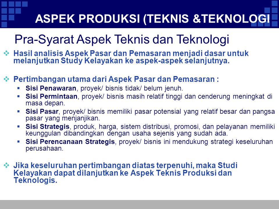 ASPEK PRODUKSI (TEKNIS &TEKNOLOGI  Hasil analisis Aspek Pasar dan Pemasaran menjadi dasar untuk melanjutkan Study Kelayakan ke aspek-aspek selanjutny