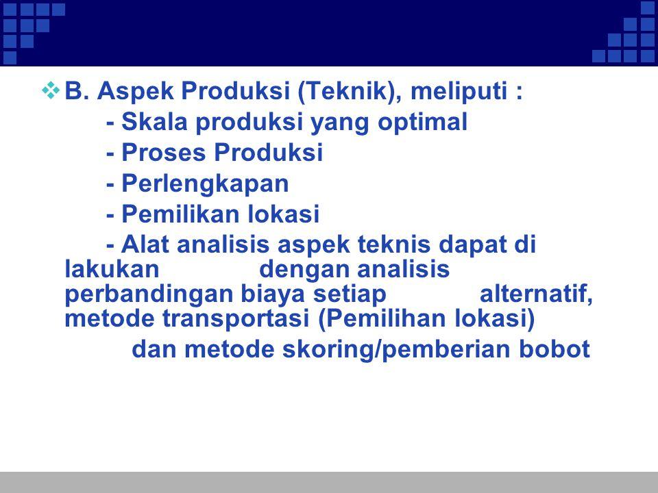  B. Aspek Produksi (Teknik), meliputi : - Skala produksi yang optimal - Proses Produksi - Perlengkapan - Pemilikan lokasi - Alat analisis aspek tekni